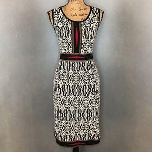 CARMEN MARC VALVO Black & Cream Abstract Dress